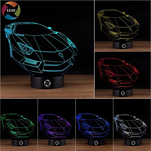 3D Optical Illusion Night Light   7 Led Color Changing Lamp   Cool Soft Light Safe For Kids   Solution For Nightmares   Lamborghini Car