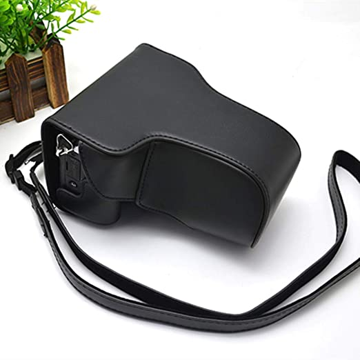 LEEEC Bolso de la cámara del Estuche de Cuero Premium para Canon EOS m3 con telefoto 18-150 mm,Black: Amazon.es: Hogar