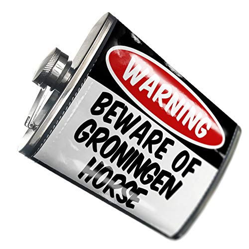 (NEONBLOND Flask Beware of the Groningen Horse Hip Flask PU Leather Stainless Steel)