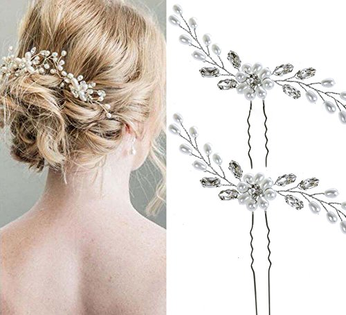 Unicra Wedding Hair Pins Hair Set Jewelry Decorative Bridal Hair Accessories for Brides and Bridesmaids Pack of 2 Silver