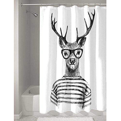 DouglasHill Deer Durable Polyester Shower Curtain Dressed up Reindeer Headed Human Hipster Style with Glasses Stripped Shirt Add to Your Bathroom W48 x L84 Inch Charcoal Grey White