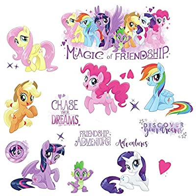 RoomMates RMK3551SCS My Little Pony The Movie Peel & Stick Wall Decals with Glitter, Multicolor, 8