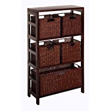 Winsome Wood Leo Wood 4 Tier Shelf with 5 Rattan Baskets - 1 Large  4 Small in Espresso Finish