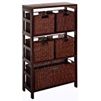 Winsome Wood Leo Wood 4 Tier Shelf with 5 Rattan Baskets - 1 large; 4 small in Espresso Finish
