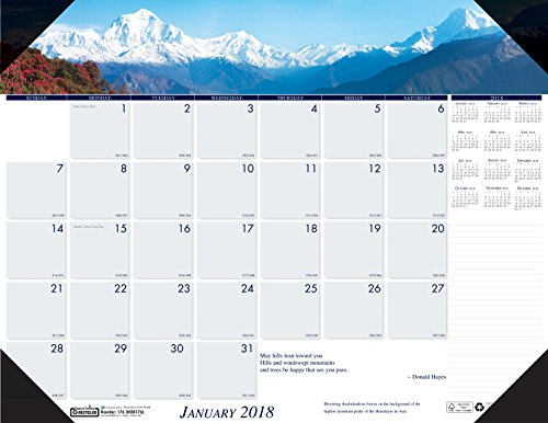 House of Doolittle 2018 Monthly Desk Pad Calendar, Earthscapes Mountains, 18.5 x 13 Inches, January - December (HOD1766-18)