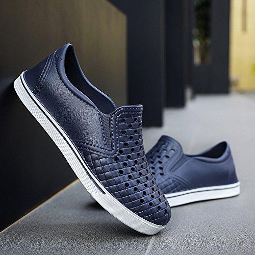 MAZHONG Zapatillas Zapatos de playa cómodos de verano Zapatos ligeros de agujeros transpirables Sandalias informales japonesas para hombres Huecos antideslizantes exteriores ( Color : Azul , Tamaño :  Azul