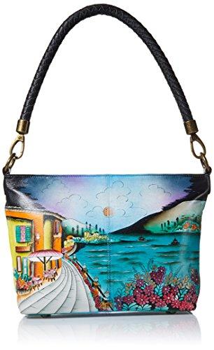 Anna by Anuschka Hand Painted Leather Women's Shoulder HOBO, Moonlit Capri
