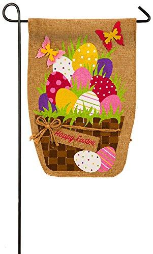 Evergreen Flag Easter Egg Basket Burlap Garden Flag, 12.5 x 18 ()