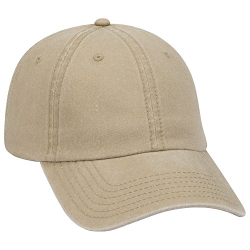 - OTTO Garment Washed Pigment Dyed Cotton Twill 6 Panel Low Profile Dad Hat - Khaki