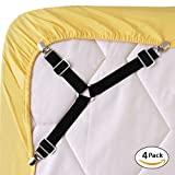 #3: Bed Sheet Fasteners, 4 PCS Adjustable Triangle Elastic Suspenders Gripper Holder Straps Clip for Bed Sheets,Mattress Covers, Sofa Cushion (4 Pack-Short)