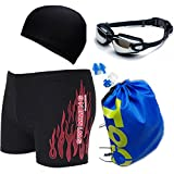 Men's Red Fire-Print Swimwear Suits Square Leg Swimsuits Surf Boxer Brief Trunks Shorts with Drawstring
