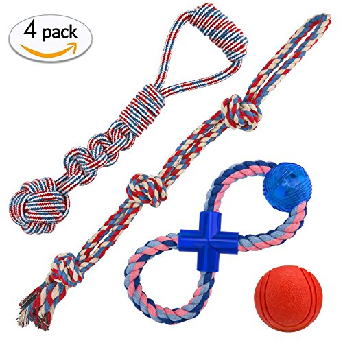 Dog rope Chew Toys Set of 4 Anti-bite Knot Rope Rubber ball for Large (Large Rope Knot Ball)