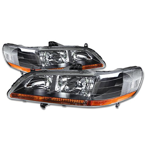 DNA Motoring HL-OH-HA98-BK-AB Headlight Assembly (Driver and Passenger (Passenger Side Headlight Assembly Coupe)
