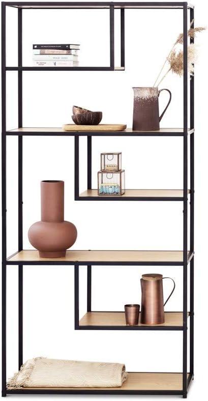 LIFA LIVING Estantería de Suelo asimétrica, Estantería de pie 7 baldas, Moderna y Original, Madera de Caucho y Metal, 82 x 34 x 175 cm