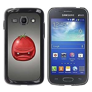 Caucho caso de Shell duro de la cubierta de accesorios de protección BY RAYDREAMMM - Samsung Galaxy Ace 3 GT-S7270 GT-S7275 GT-S7272 - Angry Tomato Red Fruit Art Face Portrait