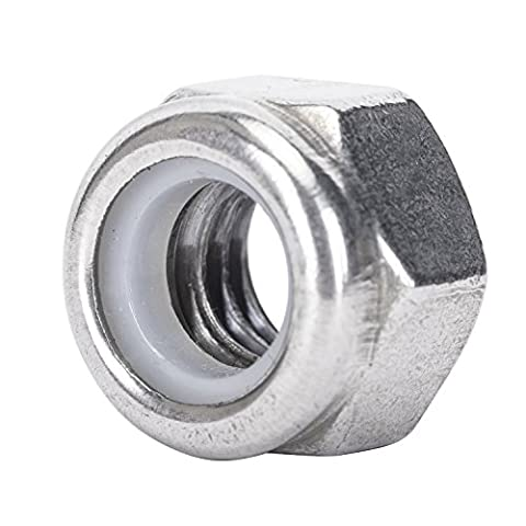 SINOVAL 5/16-18 Nylon Insert Hex Lock Nuts, Stainless Steel 18-8, Plain Finish, Quantity 50 - Brass Stainless Steel Nuts