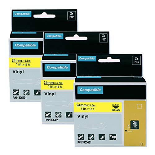 3 Pack Replacement DYMO Rhino 1805431 1-inch Permanent Vinyl Black on Yellow Label Tapes for Use with DYMO Rhino Industrial 6000 6500 Label Makers and More, 1 inch x 18 feet