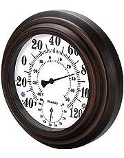 Konesky Indoor Thermometer Hygrometer Retro Klassieke Muur Metaal Digitale Thermo-Hygrometer Rond Hangend Ontwerp Vochtigheid Meter Buiten, Tuin, Keuken, Badkamer