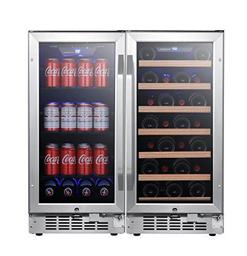 (EdgeStar CWBV80301 30 Inch Wide 30 Bottle 80 Can Side-by-Side Wine and Beverage Cooler)