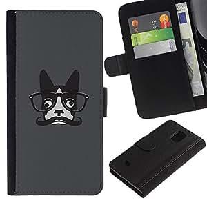KingStore / Leather Etui en cuir / Samsung Galaxy S5 Mini, SM-G800 / Hipster dogo francés Arte del bigote de los vidrios