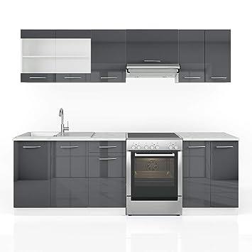 Schon Vicco Küche Raul Küchenzeile Küchenblock Einbauküche 240 Cm Anthrazit  Hochglanz   Frei Kombinierbare Einheiten