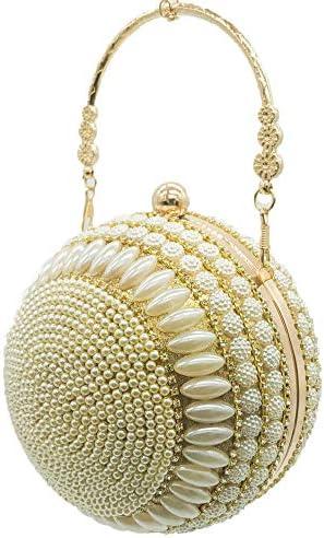 よくできた女性の球形のディナーバッグラウンドビーズの真珠のハンドバッグの宴会バッグのイブニングドレスのクラッチバッグ無地の金 美しいファッション (色 : Gold)