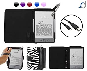 "Amazon Kindle 4 'LANTERN Tablet Case' Cover Pouch - Zebra Print (Limited Edition) with  Night Light, Wrist Strap, and now also a USB Charger Lead Cable , from G-HUB. for  Amazon Kindle 4 (2011 / 6 inch / Generation 4 / 4th Gen / 6"" Kindle) aka Wi-Fi Kindle  4 Tablet / eReader"