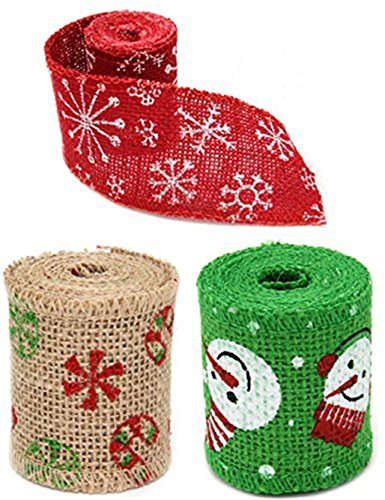 Tile Edge Linen (Jorbest 3 PCS Natural Jute Burlap Rolls Ribbon for Christmas Wedding Decoration and More (Snowflake,Snowman))