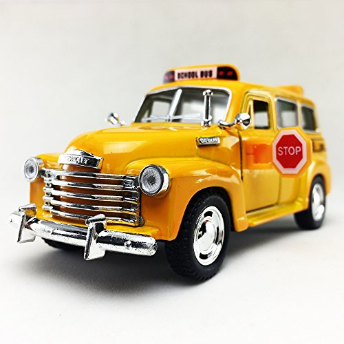 1950 Chevrolet Suburban Yellow School Bus Kinsmart 1:36 DieCast Model Toy Car Collectible