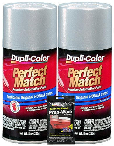 (Dupli-Color Satin Silver Metallic Perfect Match Automotive Paint (8 oz.), Bundles with Prep Wipe (3 Items))