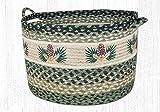 17''X11'' Black/Sage/Cream Pinecone Round Large Utility Basket