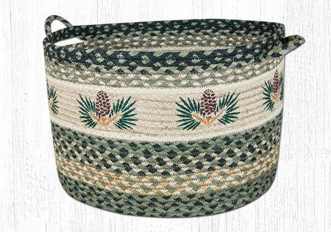 17''X11'' Black/Sage/Cream Pinecone Round Large Utility Basket