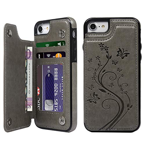SUPWALL iPhone 7 Card Holder Case, iPhone 8 Wallet Case Embossed Butterfly Slim Folio Leather Cover Shockproof Shell with Credit Card Slot Protective Skin for iPhone 7 & 8, Gray