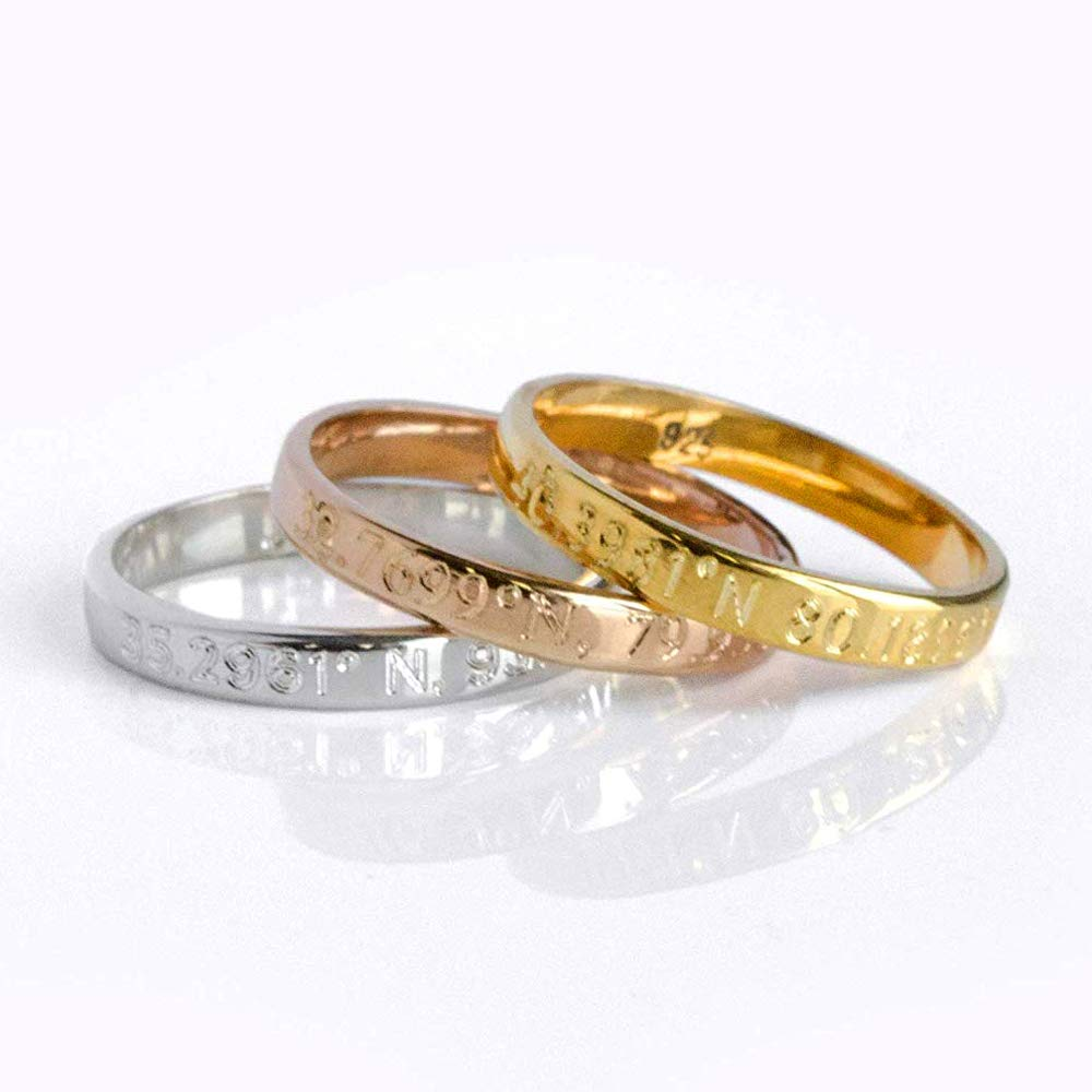 Custom Engraved Name Ring in Either Sterling Silver, Rose Gold, or Yellow Gold - Inside or Outside Inscription [R3]