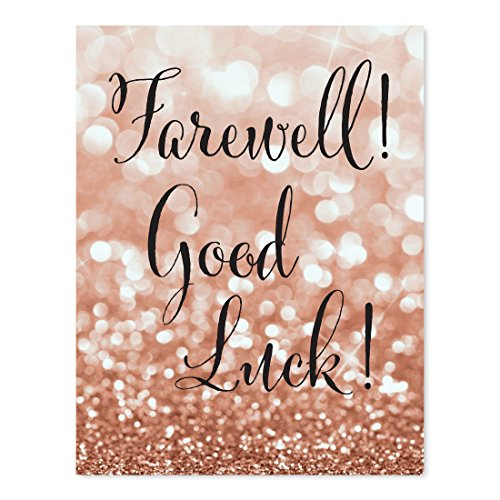 Andaz Press Retirement Party Signs, Glitzy Rose Gold Glitter, 8.5x11-inch, Farewell! Good Luck!, 1-Pack, Bokeh Colored Party Supplies