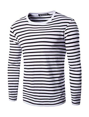 Allegra K Men Crew Neck Long Sleeves Stripe-Patterned T-shirt Black White (Stripe T-shirt)