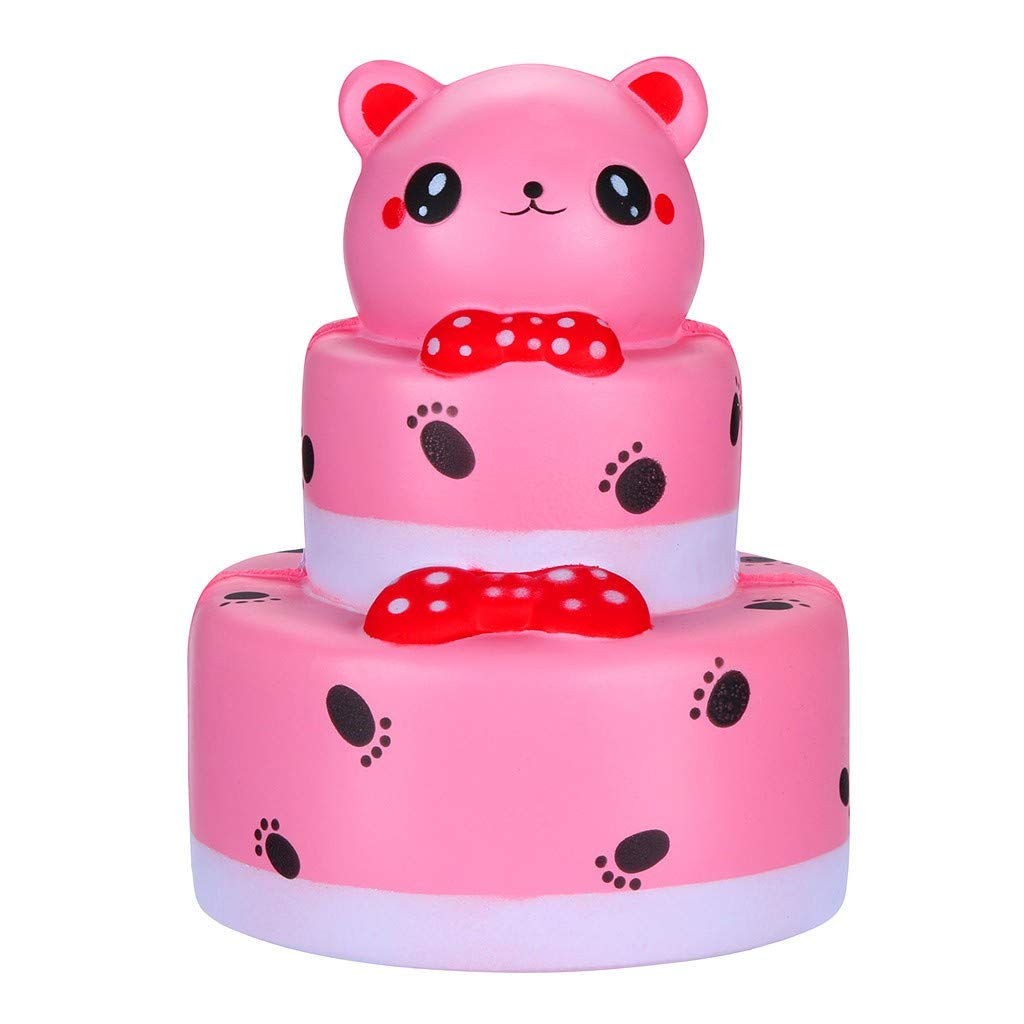 Kangrunmy- Squishy Pas Cher Kawaii Squishies Squeeze Jouet de dé compression Double-Layer Bear Cake Squishies Slow Rising Cream Squeeze Scented Cure Toys