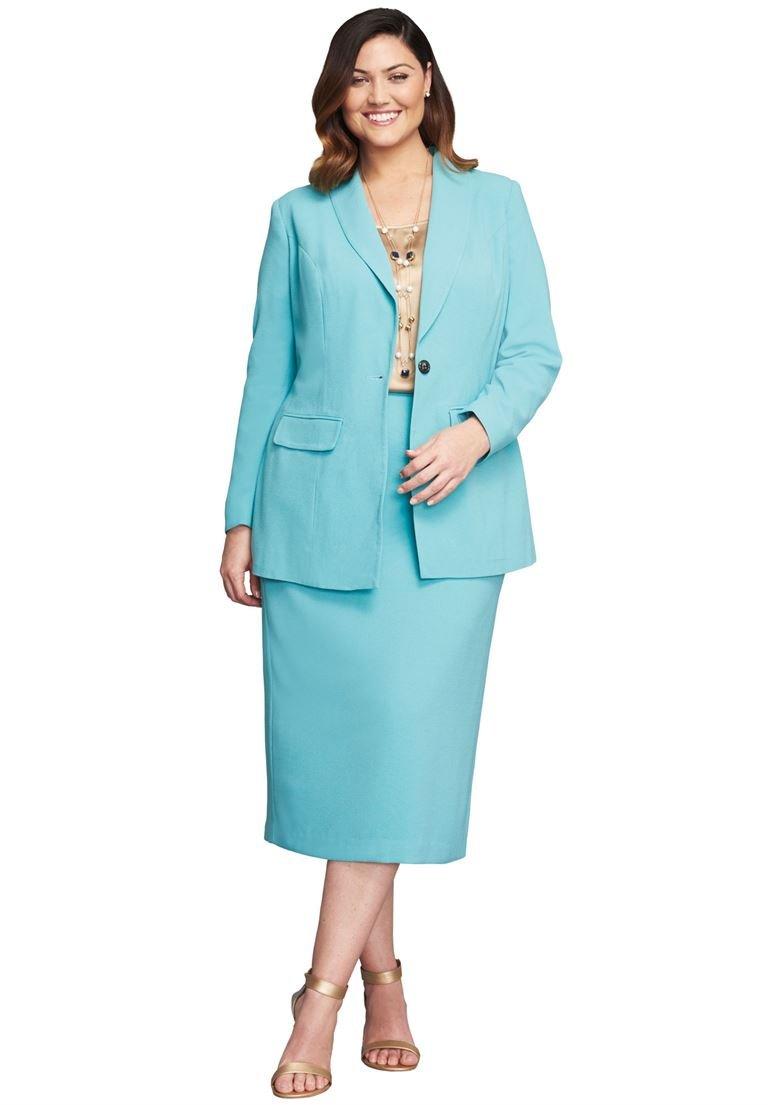 Jessica London Women's Plus Size 2-Piece Single-Breasted Skirt Suit Dusty