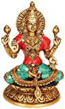 Aone India 9'' Gorgeous Goddess Lakshmi- Hindu Deity of Wealth Brass Statue- Good Luck Prosperity Anniversary Easter Gift + Cash Envelope (Pack Of 10)