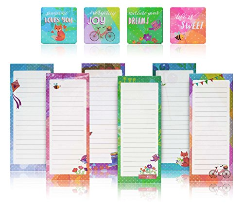 Prtsupply Charming Magnetic Notepads & Inspirational Refrigerator Magnets – To Do List, Grocery list, Perfect Housewarming Gifts, Thank You Gifts, Office Supplies – 6 Note Pads + 4 Fridge Magnets by Prtsupply
