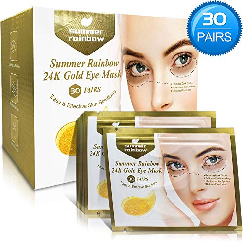 51RsL88eupL - 30 Pairs under eye patches, Summer Rainbow eye mask, Under Eye Bags Treatment, Dark Circles Under Eye Treatment, 24K Gold Eye Treatment Masks Anti-Aging for Reducing Dark Circles Puffiness Wrinkles.