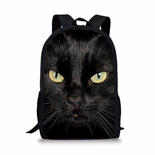 - Coloranimal Fashion Black Cat Pattern 3D Animal Printing School Backpack for Kids Back to School