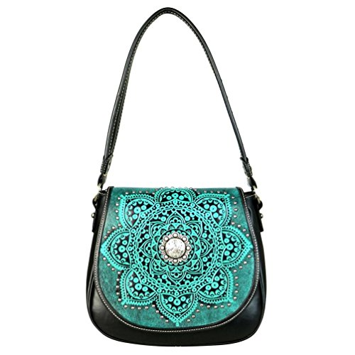 TR53-8360 Trinity Ranch Tooled Collection Saddle Bag (Black)