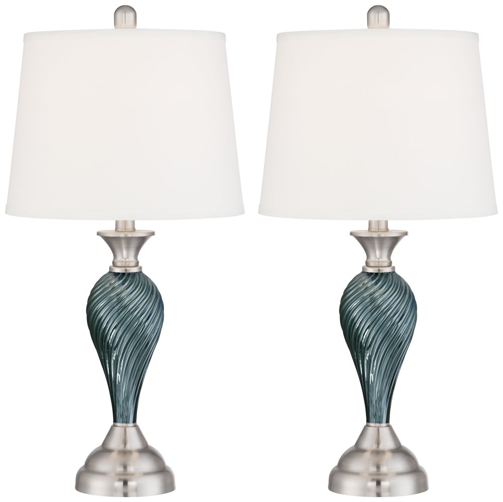 Arden Green Blue Glass Twist Column Table Lamps   Set Of 2     Amazon.com
