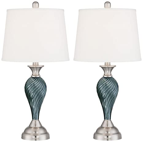 Arden Green Blue Glass Twist Column Table Lamp Set Of 2 Amazon Com