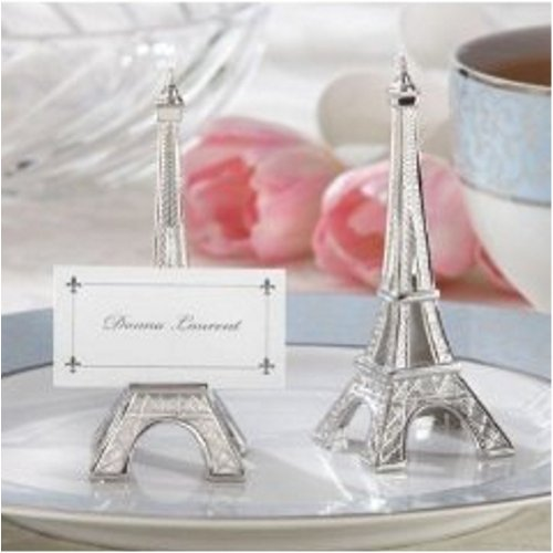 Evening in Paris Eiffel Tower Silver-Finish Place Card/Holder (set of (Evening In Paris Theme Party)