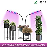 Plant Grow Light, with 24 W Dual Head 360° Flexible, Newest COB LED (high Brightness) Timing Circulating Memory Grow lamp, Adjustable Gooseneck, Hydroponic Gardening, Greenhouse, Office