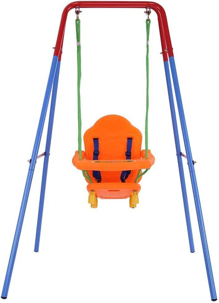 Blue Toddler Swing Set Metal Swing Set for Backyard A-Frame Outdoor Swing Chair High Back Seat with Safety Belt for Infants for Backyard