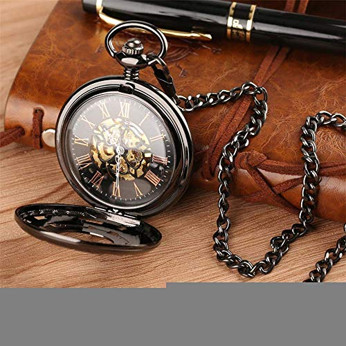 ZJZ Fickklocka, svart ihåligt växelhjul design hand vind mekanisk fickur, 30 cm kedja vintage klockor klocka gåvor