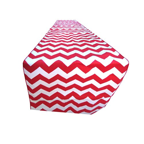ArtOFabric Decorative Cotton Red and White Chevron Print Table Runner. 12
